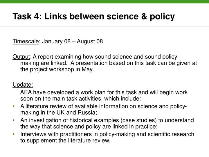 Task 4: Links between science & policy