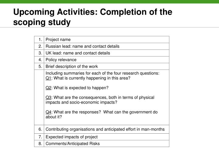 Upcoming Activities: Completion of the scoping study