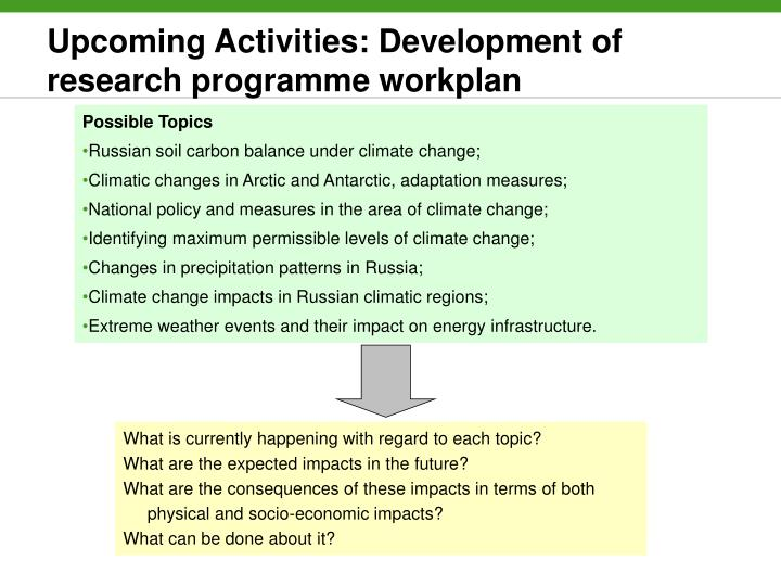 Upcoming Activities: Development of research programme workplan