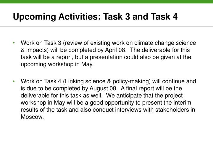 Upcoming Activities: Task 3 and Task 4