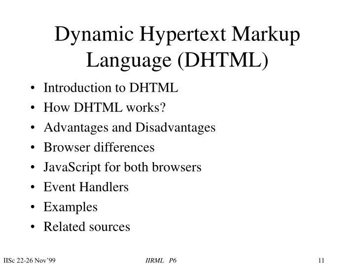 Dynamic Hypertext Markup Language (DHTML)