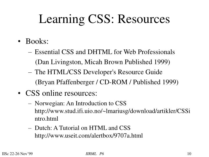 Learning CSS: Resources