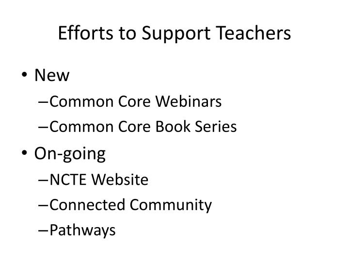 Efforts to Support Teachers