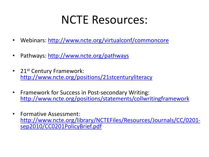 NCTE Resources: