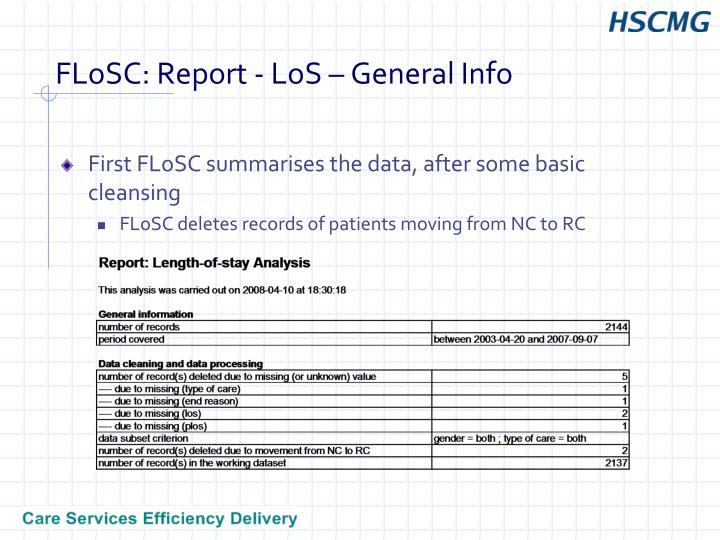 FLoSC: Report - LoS – General Info