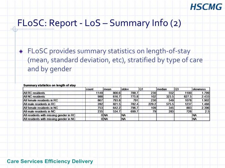 FLoSC: Report - LoS – Summary Info (2)