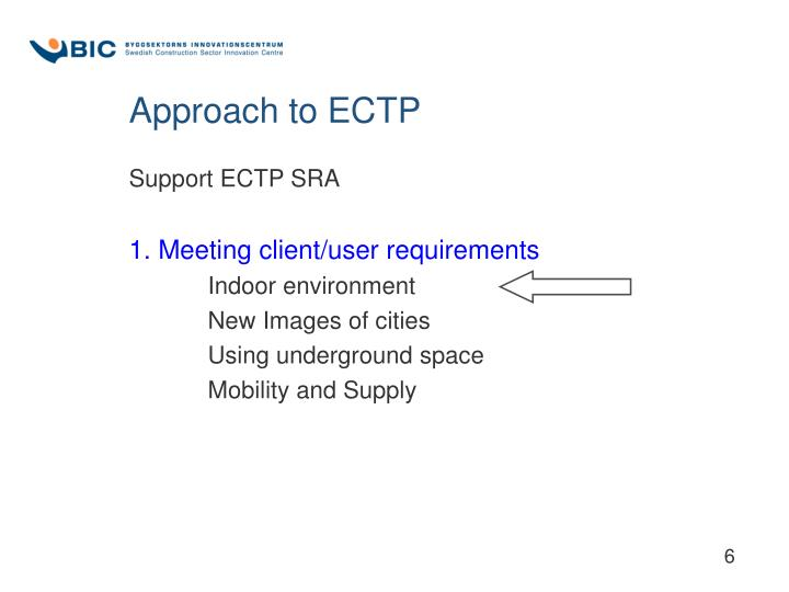 Approach to ECTP