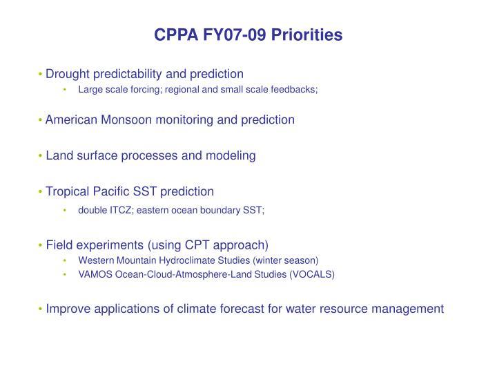 CPPA FY07-09 Priorities
