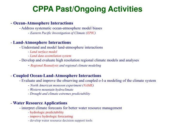 Cppa past ongoing activities