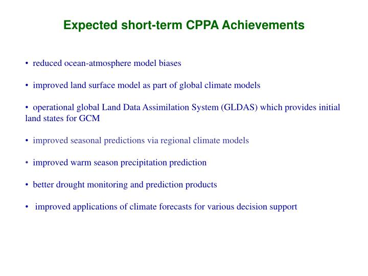 Expected short-term CPPA Achievements