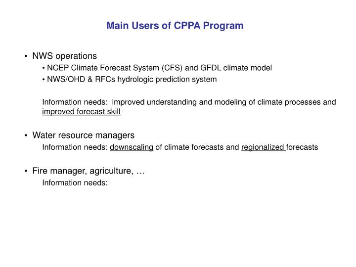Main Users of CPPA Program