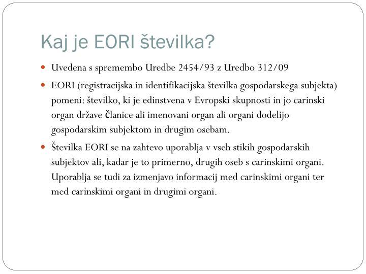 Kaj je EORI številka?