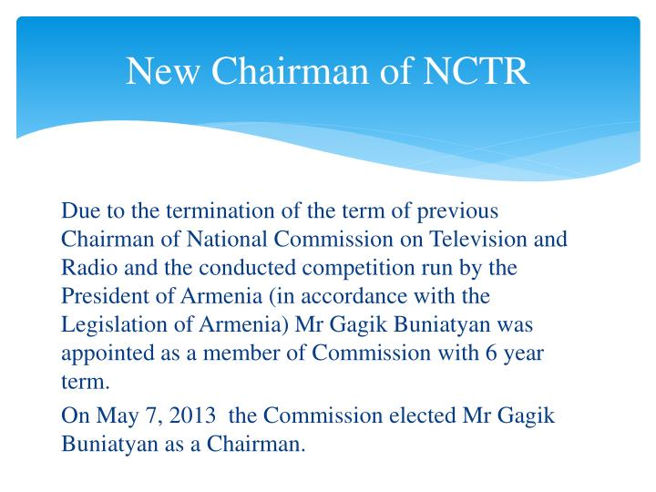 New Chairman of NCTR