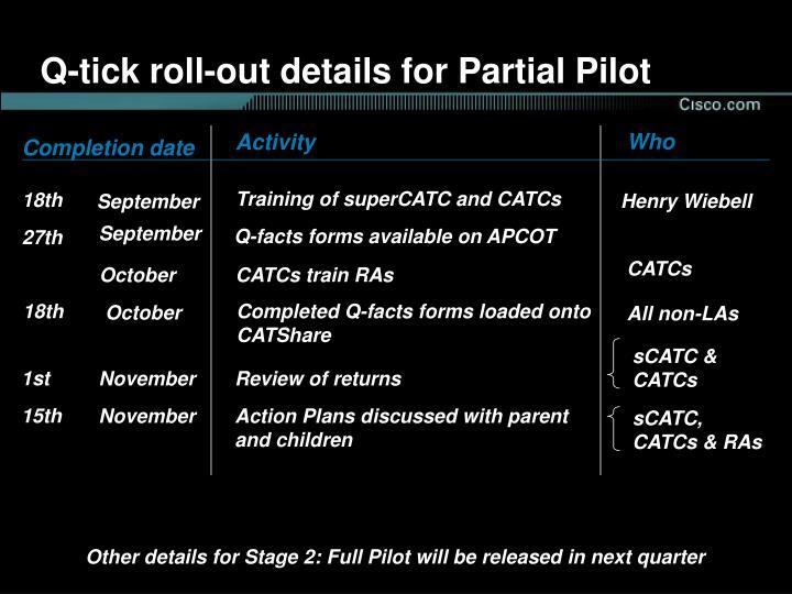 Q-tick roll-out details for Partial Pilot