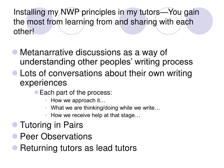 Installing my NWP principles in my tutors—You gain the most from learning from and sharing with each other!