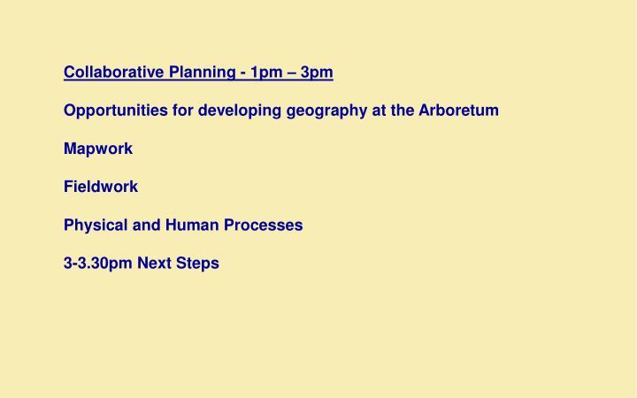Collaborative Planning - 1pm – 3pm