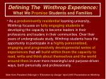 defining the winthrop experience what we promise students and families