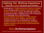 defining the winthrop experience what we promise students and families1