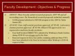 faculty development objectives progress