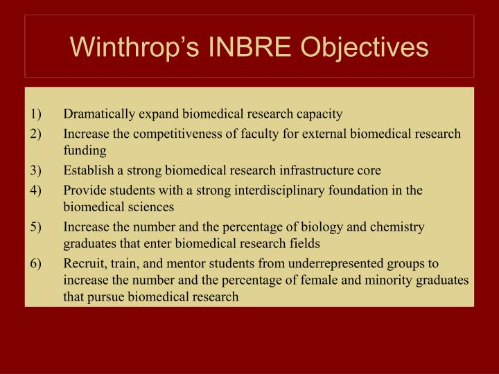 Winthrop's INBRE Objectives