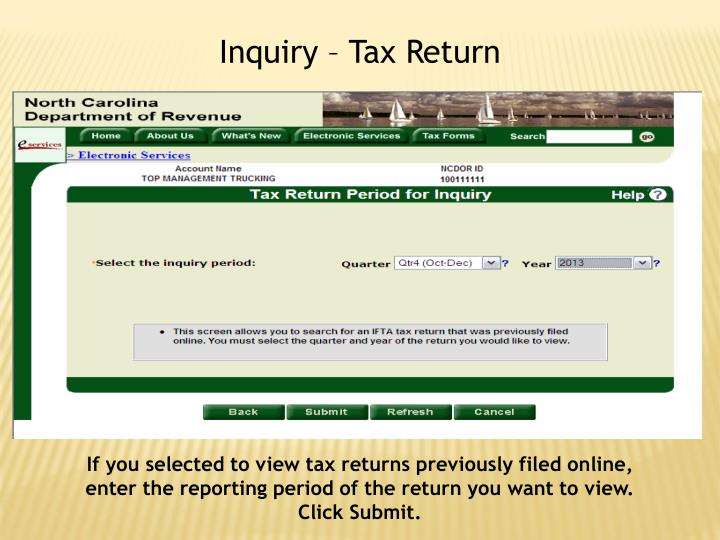 Inquiry – Tax Return