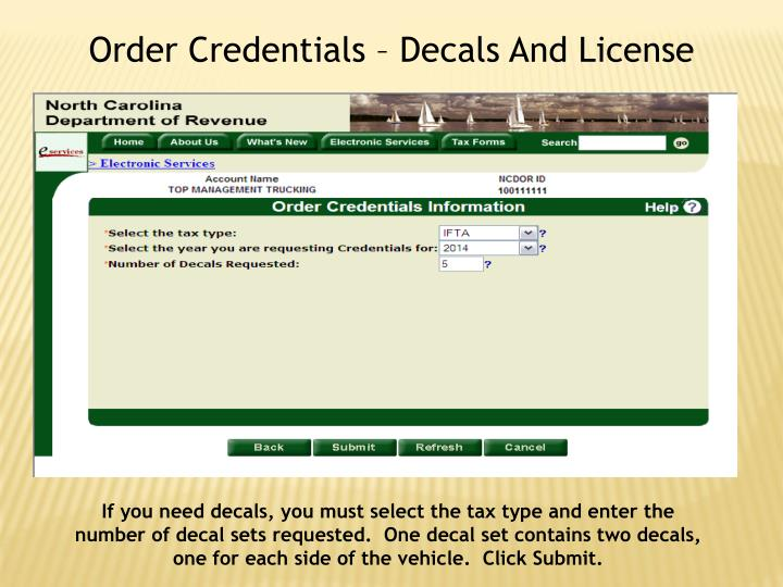 Order Credentials – Decals And License