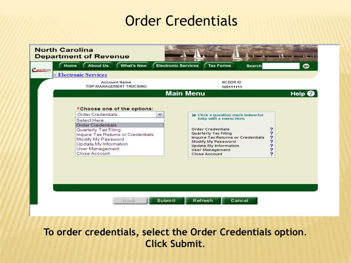 Order Credentials