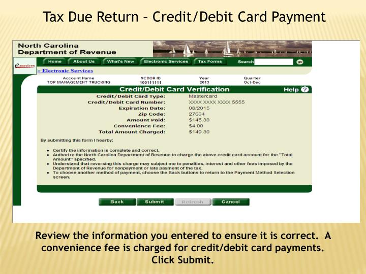 Tax Due Return – Credit/Debit Card Payment