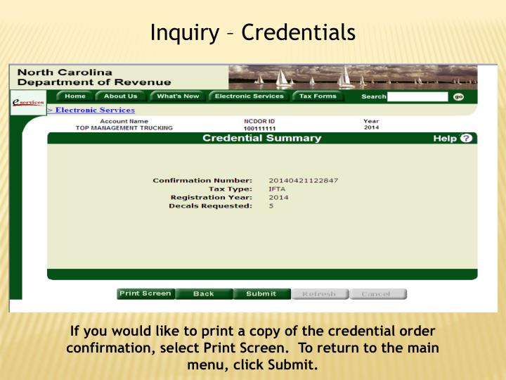 Inquiry – Credentials