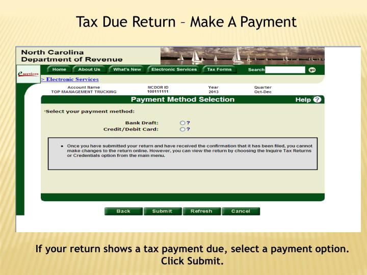 Tax Due Return – Make A Payment