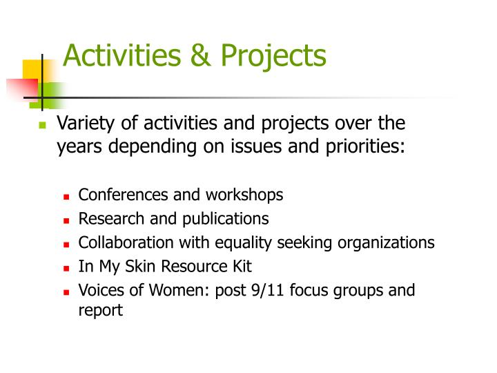Activities & Projects