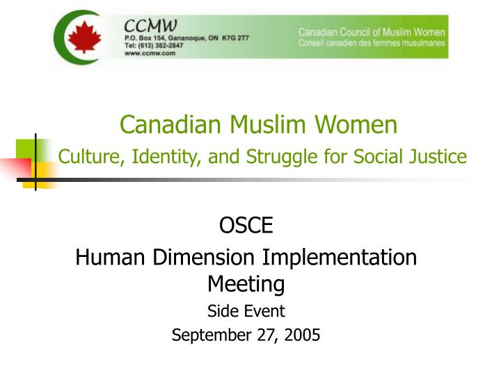 Canadian muslim women culture identity and struggle for social justice