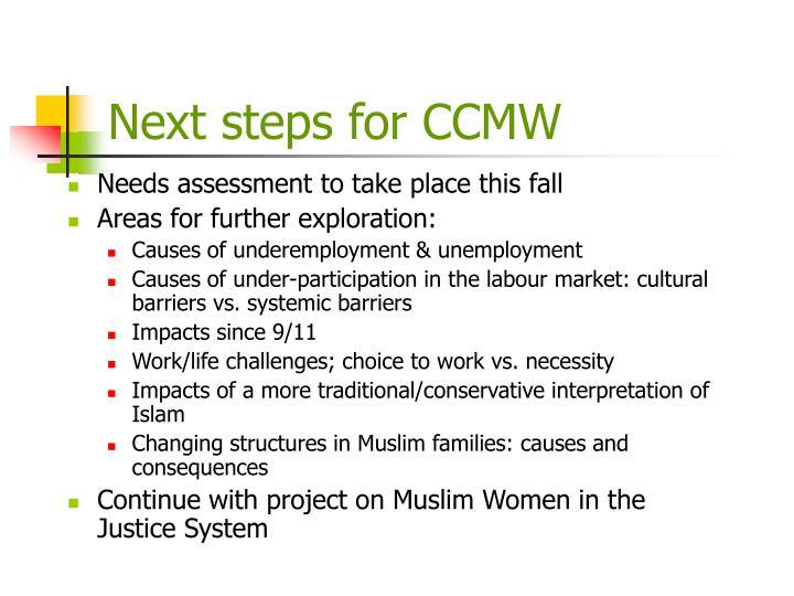 Next steps for CCMW