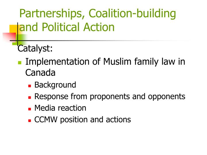Partnerships, Coalition-building and Political Action