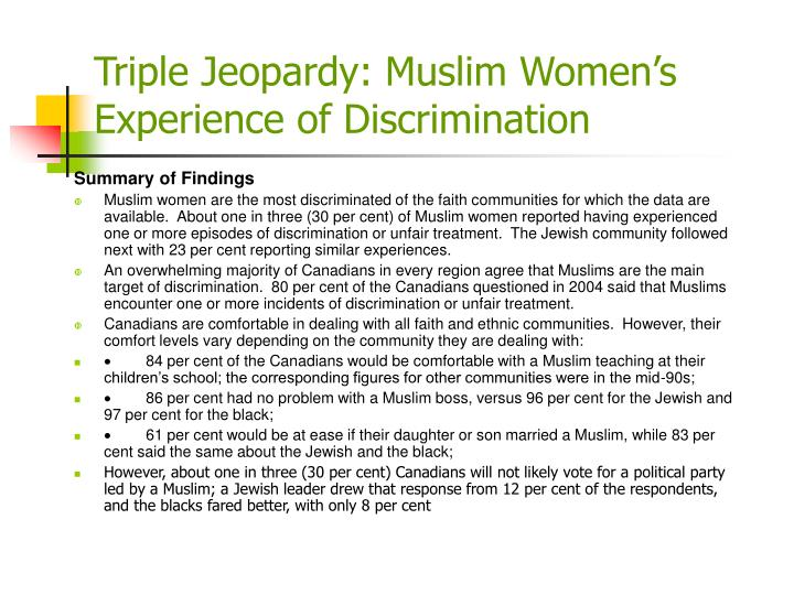 Triple Jeopardy: Muslim Women's Experience of Discrimination