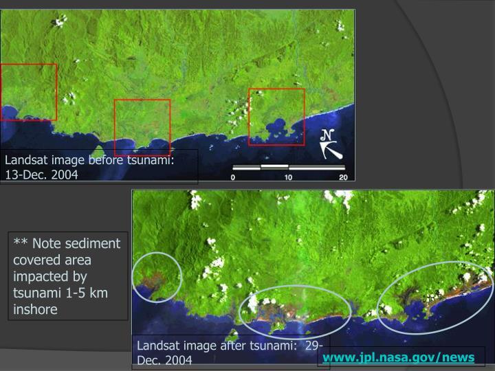 Scale of tsunami damage on Sumatran coast in Aceh province