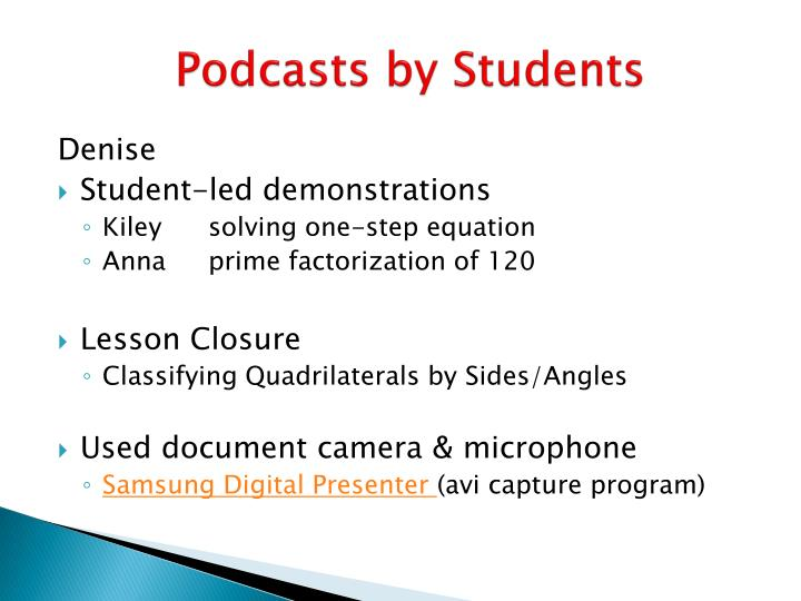 Podcasts by Students