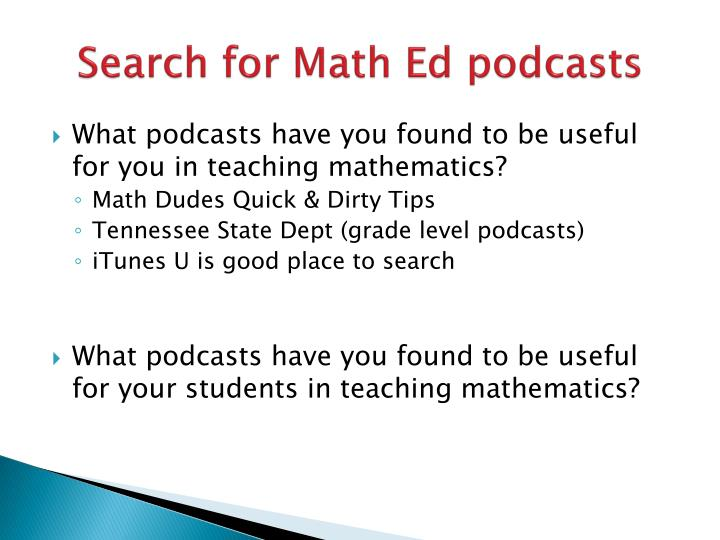 Search for Math Ed podcasts