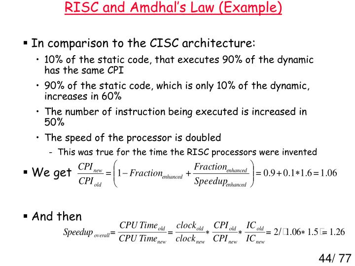 RISC and Amdhal's Law (Example)