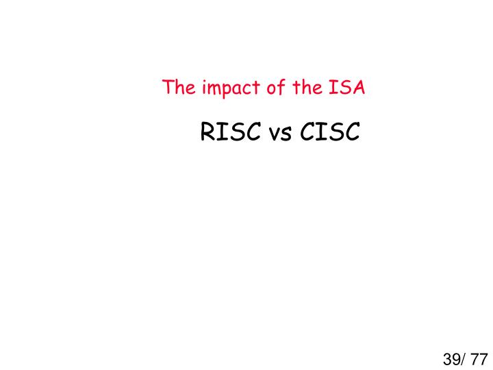 The impact of the ISA