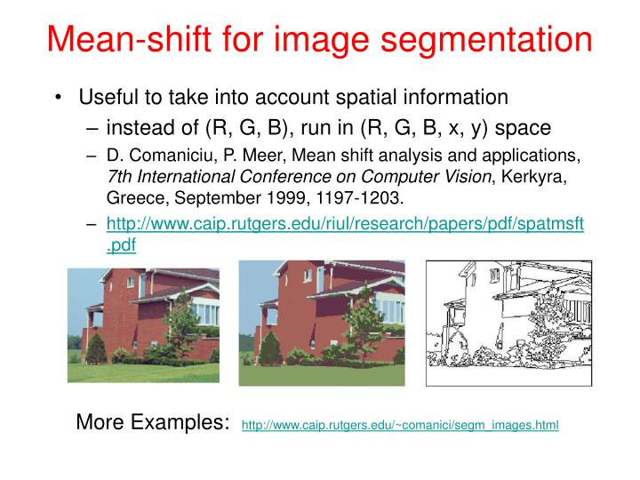 Mean-shift for image segmentation