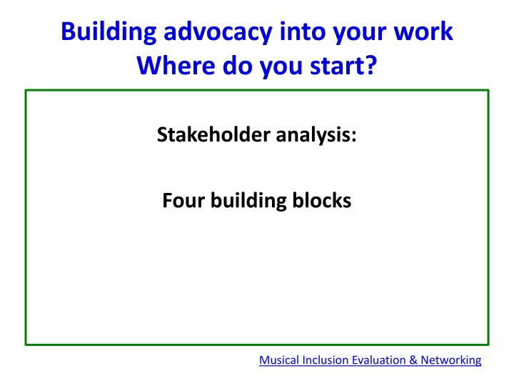 Building advocacy into your work