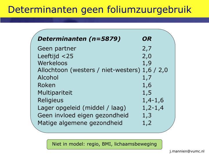 Determinanten geen foliumzuurgebruik