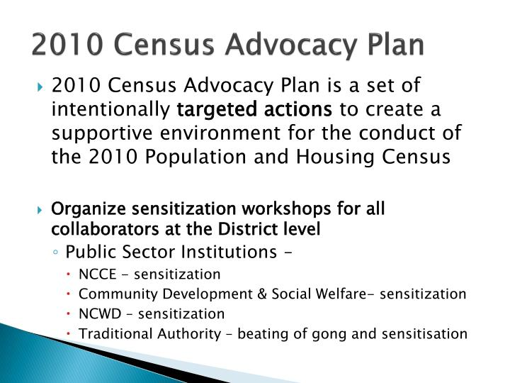2010 Census Advocacy Plan