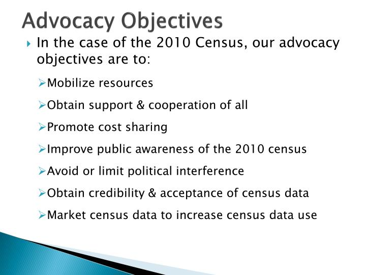 Advocacy Objectives