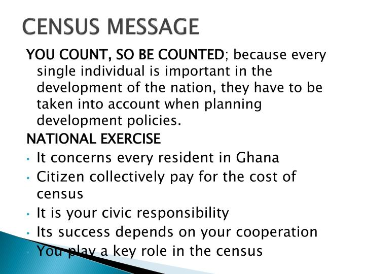 CENSUS MESSAGE