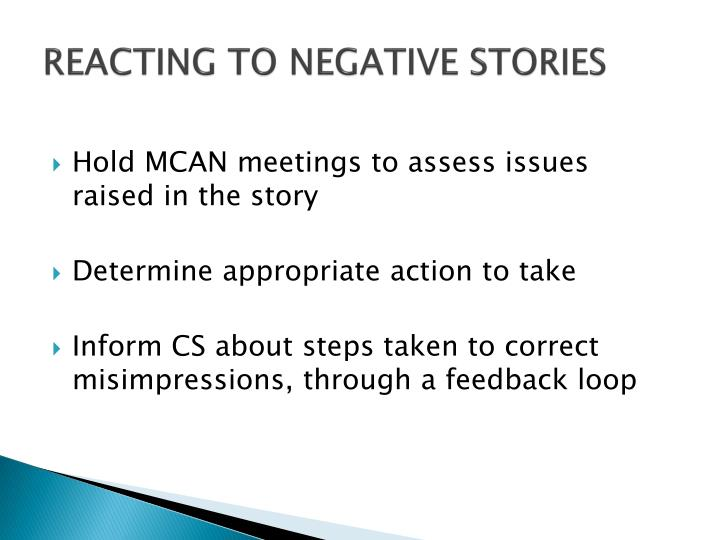 REACTING TO NEGATIVE STORIES