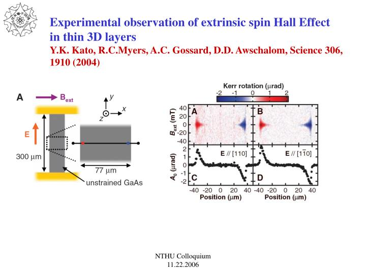 Experimental observation of extrinsic spin Hall Effect