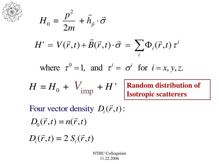 Random distribution of Isotropic scatterers