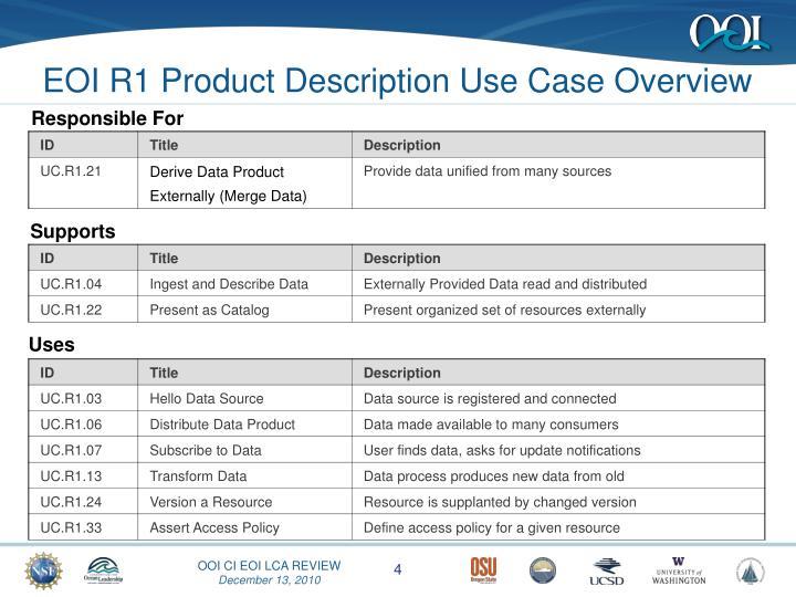 EOI R1 Product Description Use Case Overview
